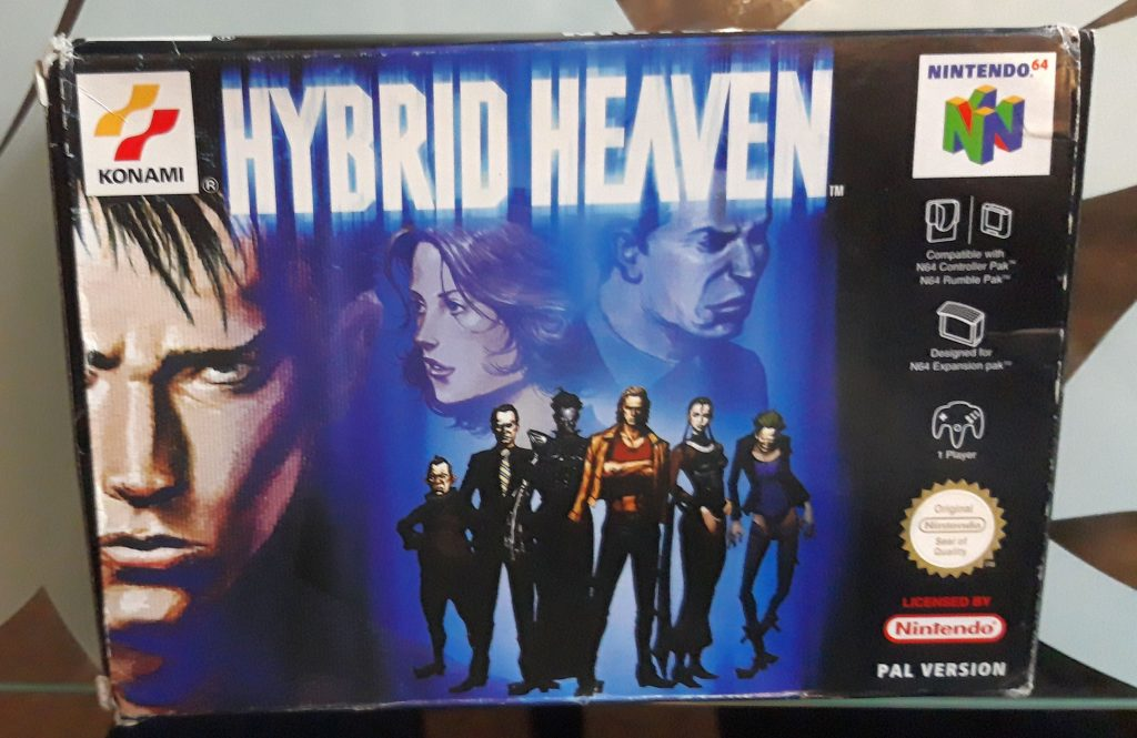 A boxed copy of Hybrid Heaven for the Nintendo 64. Slightly tatty.